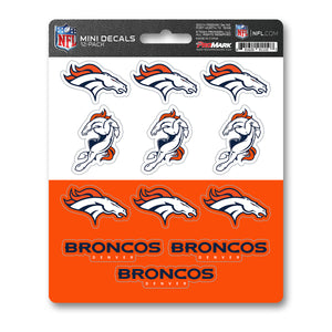 Denver Broncos NFL 12pk Mini Decal Orange and Blue Stickers