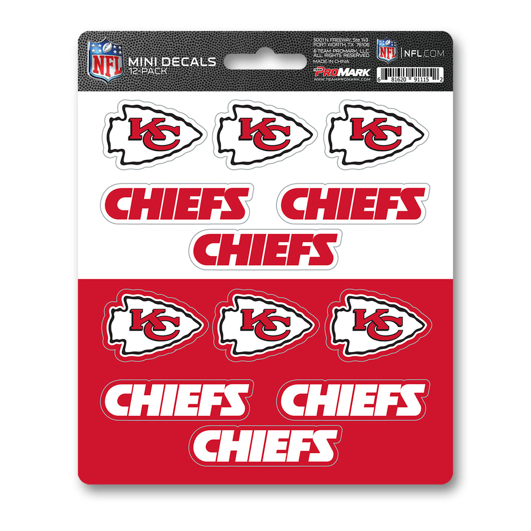 Kansas City Chiefs NFL 12pk Mini Decal Red and White Stickers