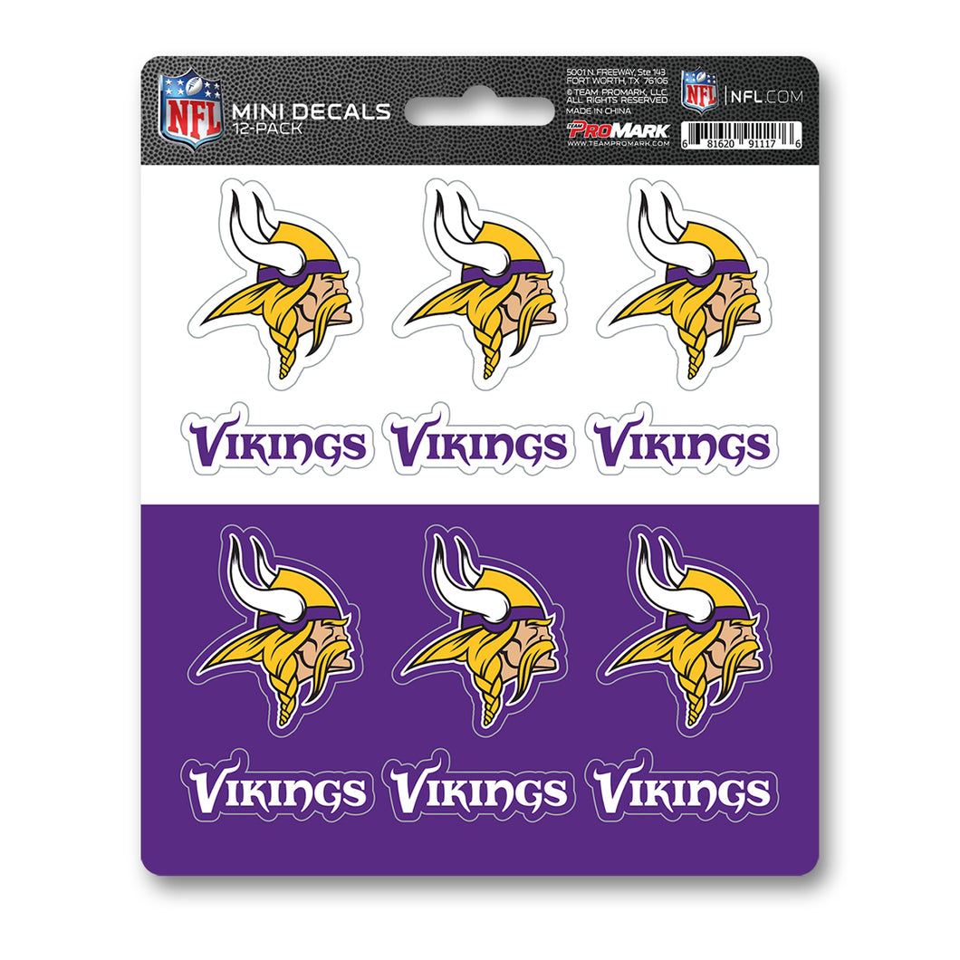 Minnesota Vikings 12pk Mini Decal Purple and Gold Team ProMark Stickers