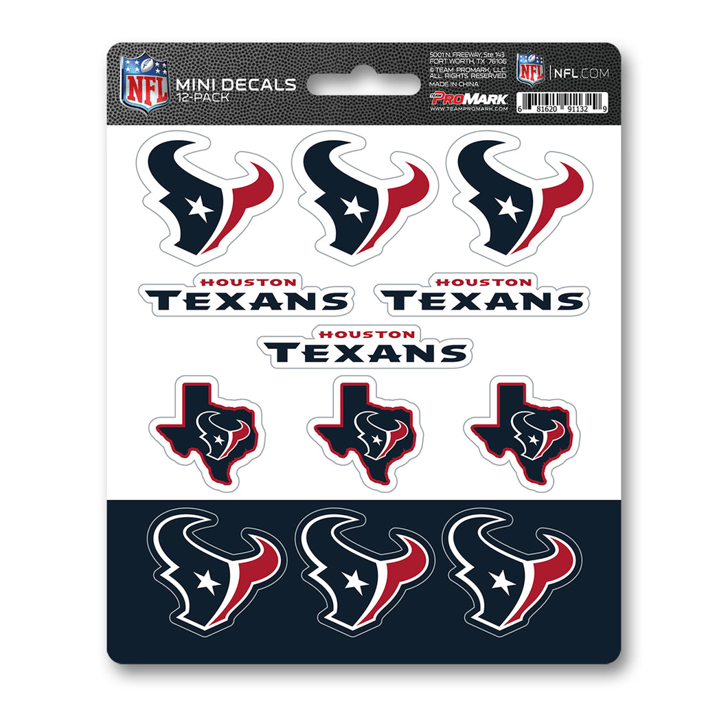 Houston Texans NFL 12pk Mini Decal Blue and Red Stickers