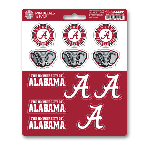 Alabama 12pk Mini Decals Roll Tide Crimson and White Stickers