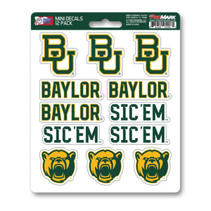 Baylor Bears 12pk Mini Decals Green and Gold NCAA Team ProMark