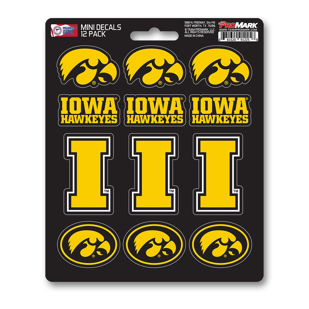 Iowa University Hawkeyes 12pk Mini Decal Black and Gold Team ProMark