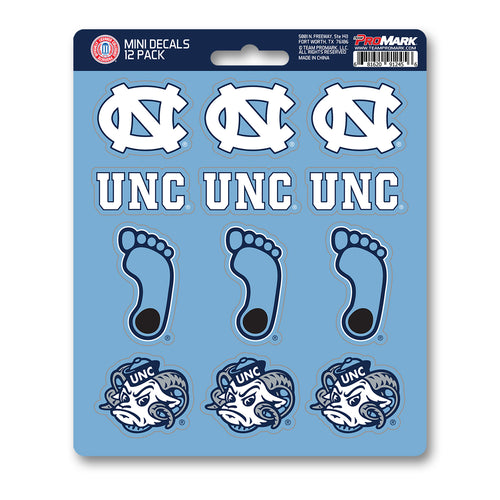 North Carolina Tar Heels NCAA 12pk Mini Decal Blue and White Stickers