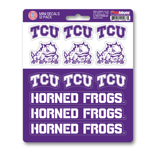 Team ProMark TCU Texas Christian University Horned Frogs 12pk Mini Decal Purple and White