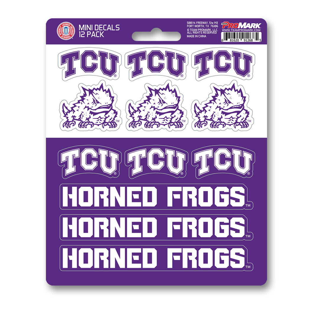 TCU Texas Christian University Horned Frogs 12pk Mini Decal Purple and White Team ProMark Stickers