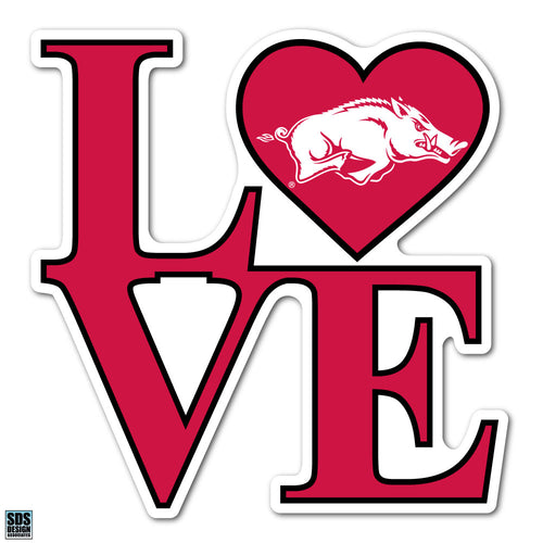Collegiate Logo Super Durable Purse Sticker-University of Arkansas Fayetteville Love Razorbacks Cardinal Red and White