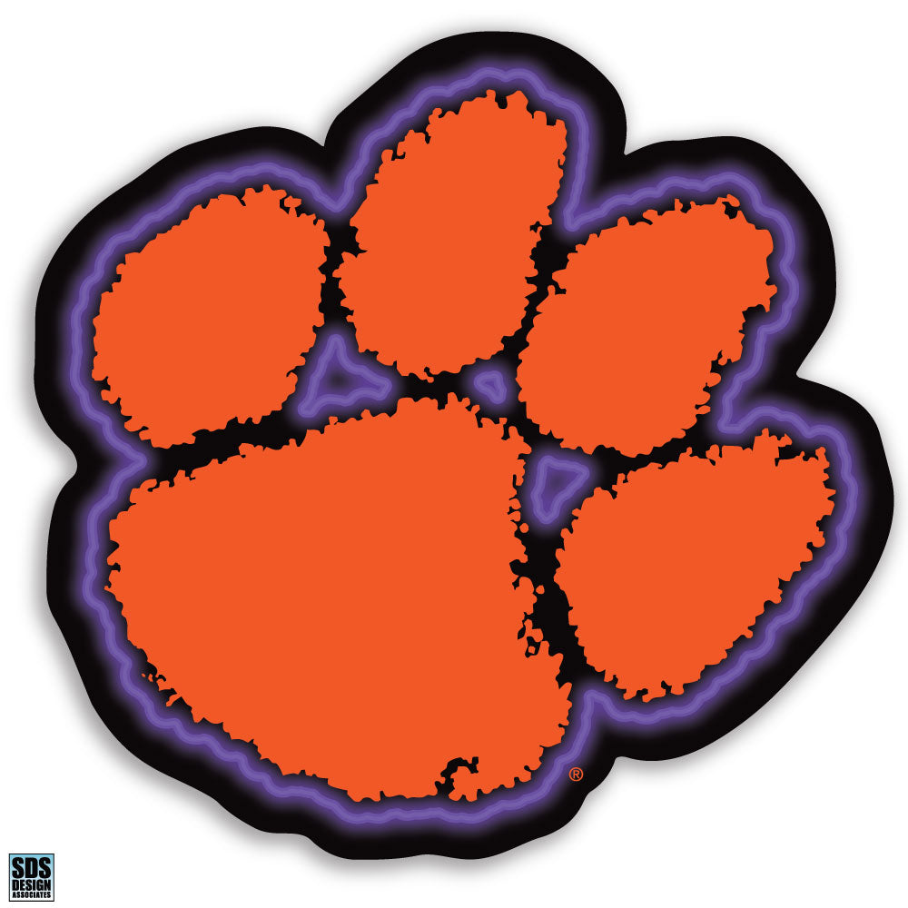 Clemson University NCAA Collegiate Logo Super Durable Purse Sticker~ Orange and Regalia Purple Tiger Cub Paw