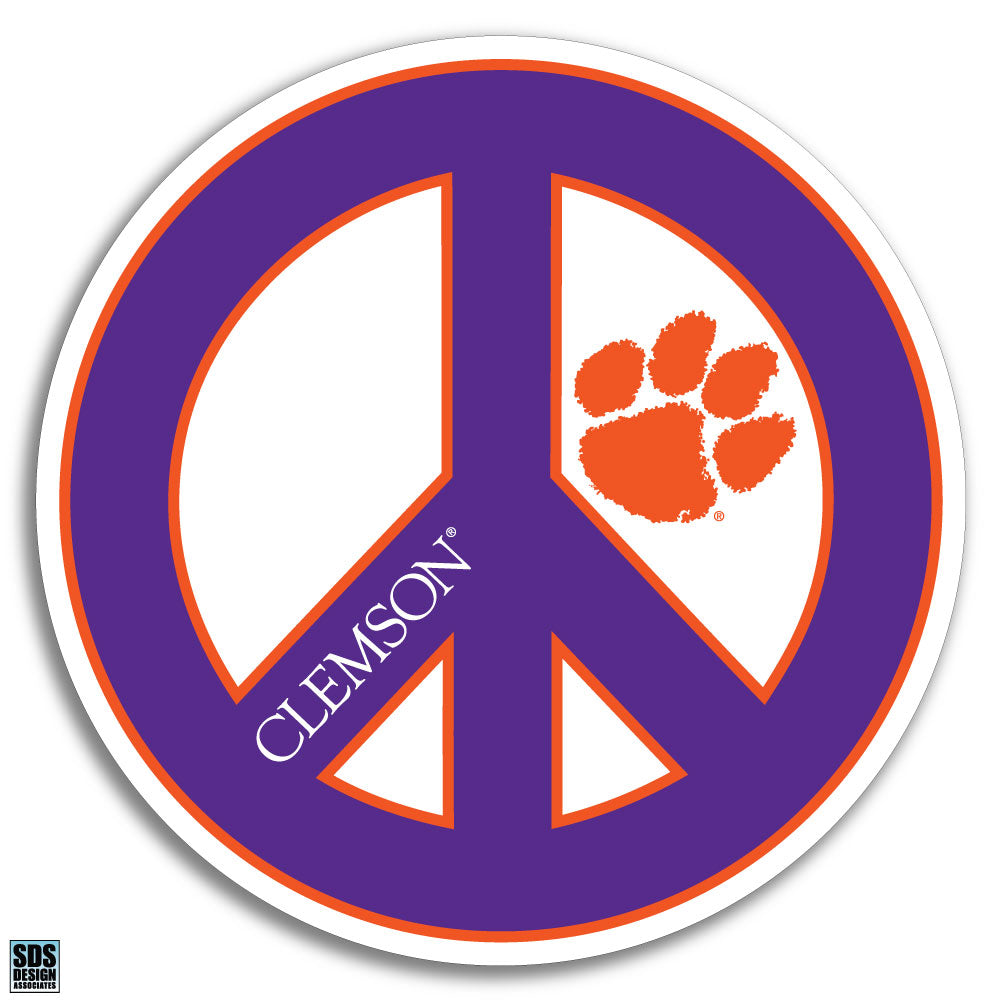 Collegiate Logo Super Durable Purse Sticker-Clemson University Peace
