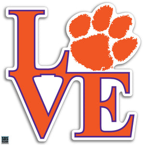 Collegiate Logo Super Durable Purse Sticker-Clemson University Love