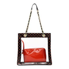 Andrea Clear Tailgate Tote - Racing Red and Black