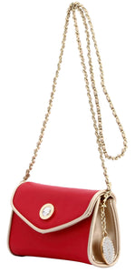 SCORE! Eva Designer Crossbody Clutch - Red and Gold