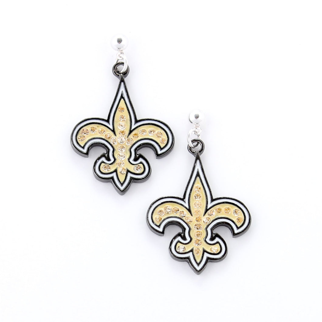 New Orleans Saints Crystal Logo Earrings