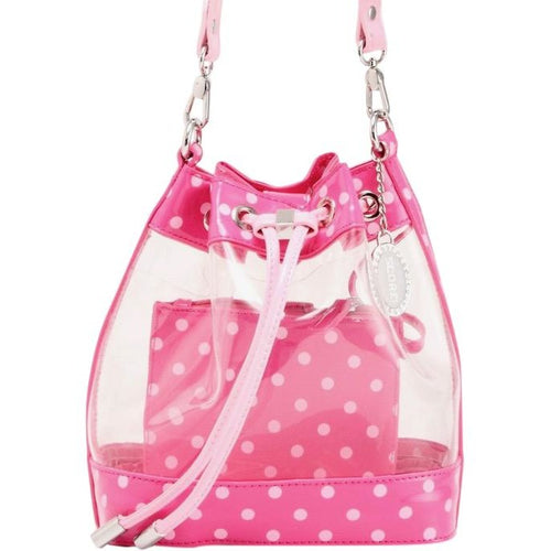 SCORE! Clear Sarah Jean Designer Crossbody Polka Dot Boho Bucket Bag-Fandango Hot Pink and Light Pink