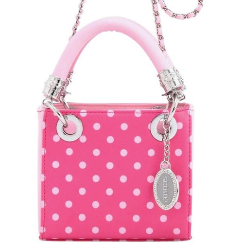SCORE! Jacqui Classic Designer Stadium Approved Top Handle Satchel Polka Dot Detachable Chain Crossbody Square Game Day Bag Event Sorority Purse - Fandango Hot Pink and Light Pink Gamma Phi Beta