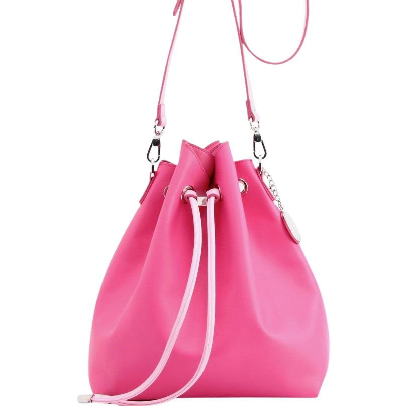 SCORE! Sarah Jean Crossbody Large BoHo Bucket Bag - Fandango Hot Pink and Light Pink