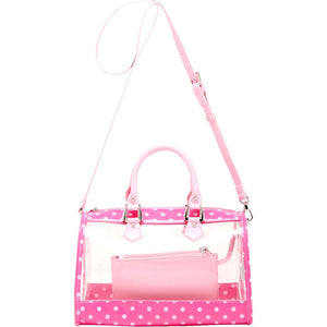 SCORE! Moniqua Large Designer Clear Crossbody Satchel - Fandango Pink and Light Pink