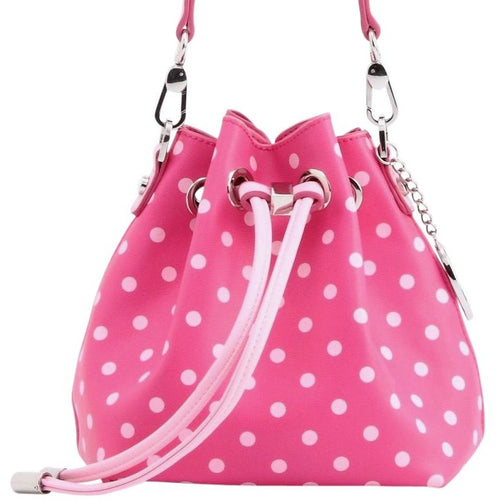 SCORE! Sarah Jean Small Crossbody Polka dot BoHo Bucket Bag- Hot Pink and Light Pink Gamma Phi Beta sorority