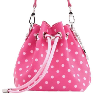 SCORE! Sarah Jean Designer Small Stadium Shoulder Crossbody Purse Polka Dot Boho Bucket Game Day Bag Tote - Hot Pink and Light Pink Gamma Phi Beta