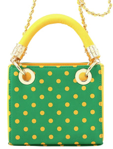 Score! Jacqui Classic Top Handle Crossbody Satchel - Bright Fern Green and Yellow Gold