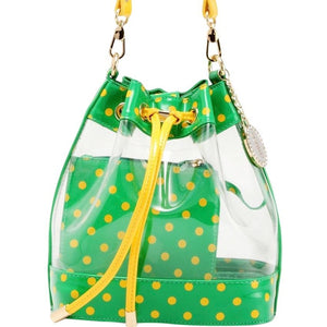 SCORE! Clear Sarah Jean Designer Crossbody Polka Dot Boho Bucket Bag-Bright Fern Green and Yellow Gold