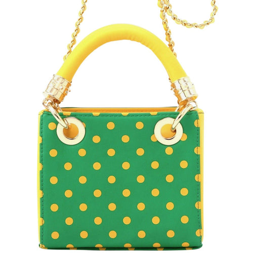 SCORE! Jacqui Classic Designer Stadium Approved Top Handle Satchel Polka Dot Detachable Chain Crossbody Square Game Day Bag Event Team Sorority Purse - Bright Fern Green and Yellow Gold
