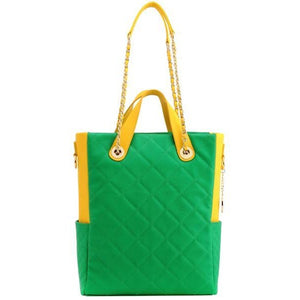 SCORE!'s Kat Travel Tote for Business, Work, or School Quilted Shoulder Bag - Fern Green and Yellow Gold
