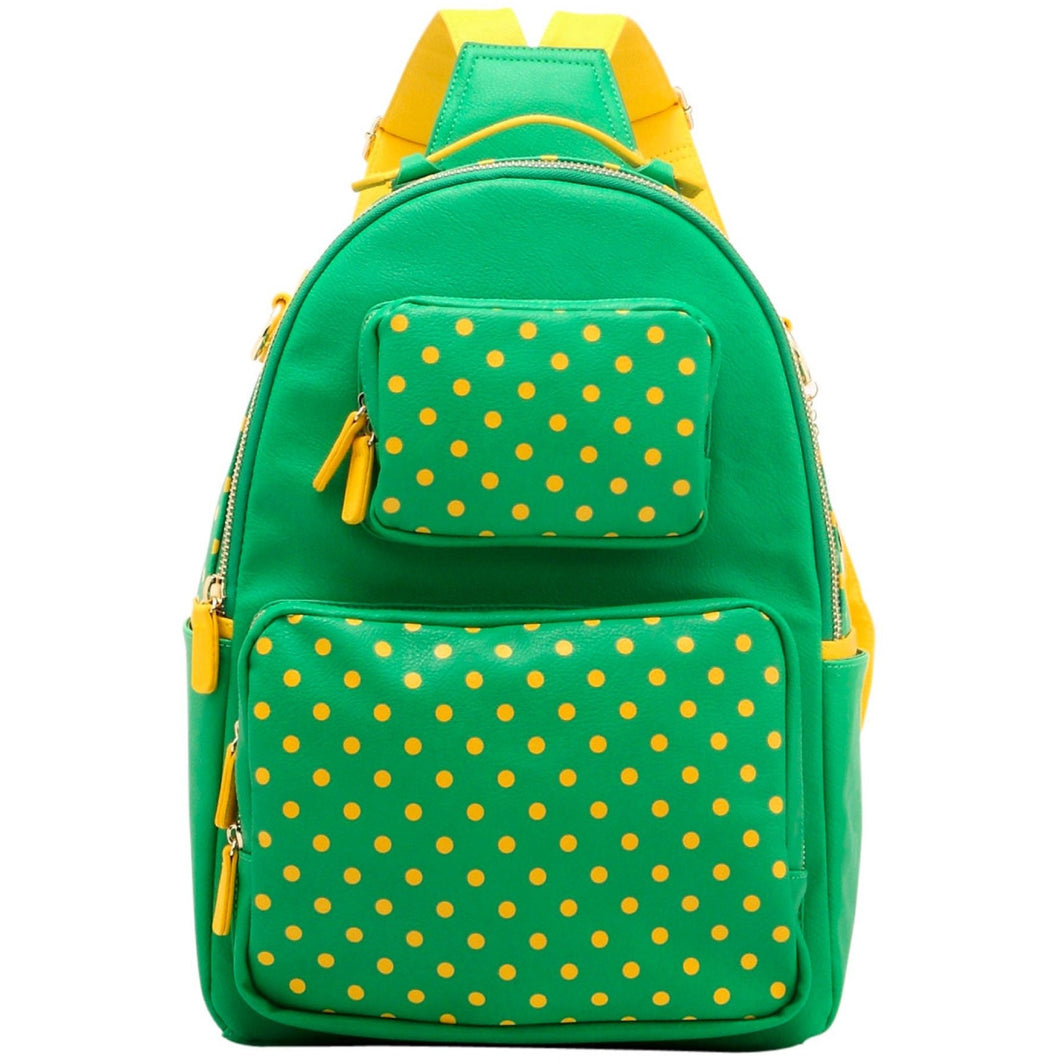 SCORE! Natalie Michelle Large Polka Dot Designer Backpack - Fern Green and Yellow Gold