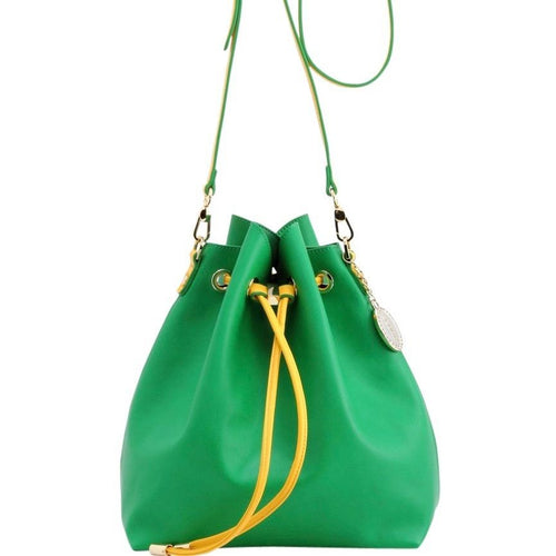 SCORE! Sarah Jean Crossbody Large BoHo Bucket Bag- Fern Green and Yellow Gold