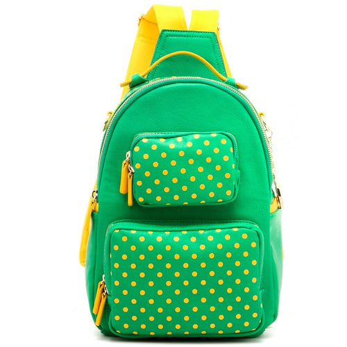 Natalie Michelle Backpack Medium - Fern Green and  Yellow Gold