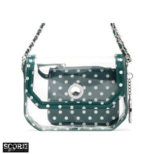SCORE! Chrissy Small Designer Clear Crossbody Bag - Green and White