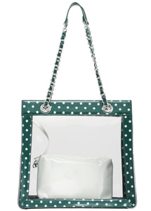 SCORE! Andrea Large Clear Designer Tote for School, Work, Travel - Forest Green and White