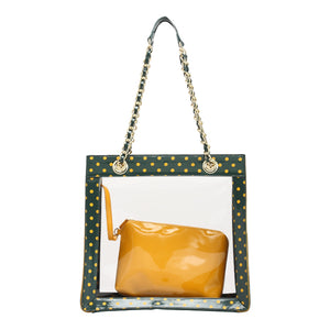 SCORE! Andrea Large Clear Designer Tote for School, Work, Travel - Forest Green and  Yellow Gold