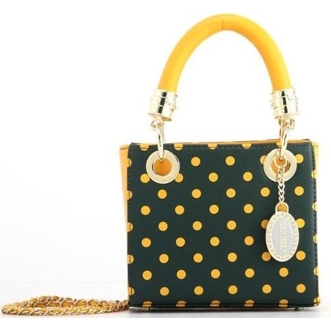 Jacqui Classic Satchel Polka Dot - Forest Green and  Yellow Gold