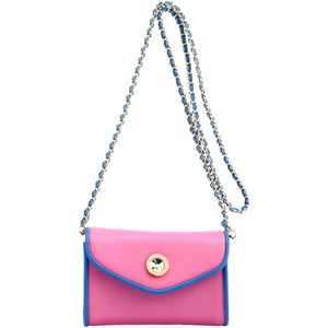 SCORE! Eva Classic Designer Stadium Approved Small Clutch Detachable Chain Crossbody Game Day Bag Event Team Sorority Purse - Pink and Blue Delta Gamma