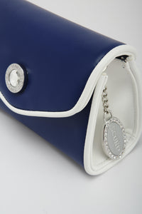 SCORE! Eva Designer Crossbody Clutch - Navy Blue and White