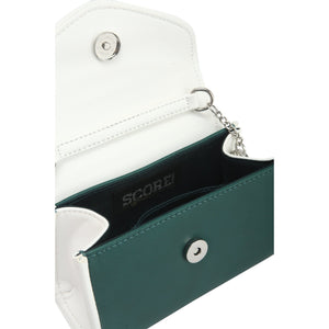SCORE! Eva Designer Crossbody Clutch - Green and White