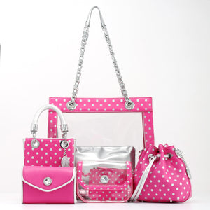 SCORE! Jacqui Classic Designer Stadium Approved Top Handle Satchel Polka Dot Detachable Chain Crossbody Square Game Day Bag Event Team Sorority Purse - Pink and Silver Phi Mu and Breast Cancer Awareness