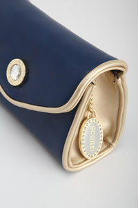 SCORE! Eva Classic Designer Stadium Approved Small Clutch Detachable Chain Crossbody Game Day Bag Event Team Sorority Purse - Navy Blue and Gold Gold