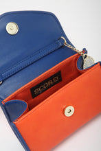 SCORE! Eva Classic Designer Stadium Approved Small Clutch Detachable Chain Crossbody Game Day Bag Event Team Purse - Orange and Blue