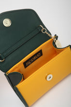 SCORE! Eva Classic Designer Stadium Approved Small Clutch Detachable Chain Crossbody Game Day Bag Event Team Sorority Purse - Green and Gold