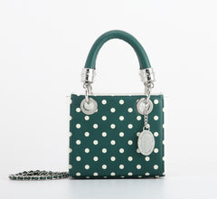 Jacqui Classic Satchel Polka Dot - Forest Green and White