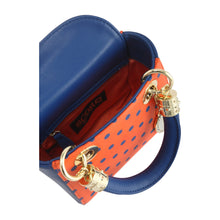 SCORE! Jacqui Classic Designer Stadium Approved Top Handle Satchel Polka Dot Detachable Chain Crossbody Square Game Day Bag Event Team Purse - Orange and Blue