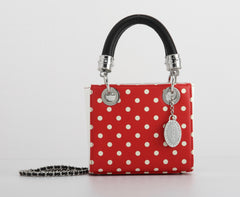 Jacqui Classic Satchel Polka Dot - Racing Red and White