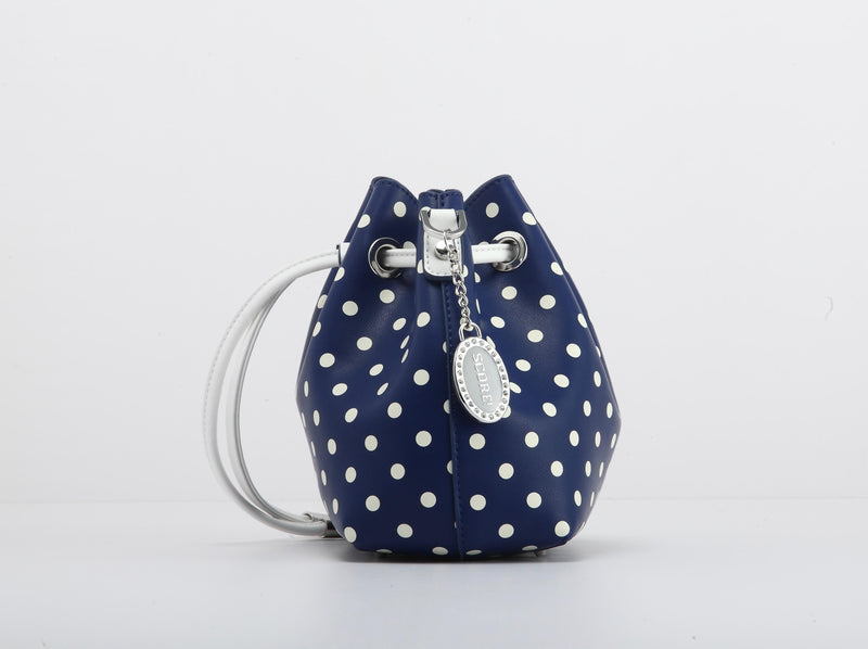 Sarah Jean Polka Dot Bucket Handbag - Navy Blue and White