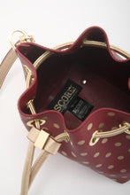 SCORE! Sarah Jean Designer Small Stadium Shoulder Crossbody Purse Polka Dot Boho Bucket Game Day Bag Tote - Maroon Crimson and Gold
