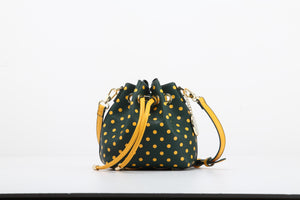 SCORE! Sarah Jean Small Crossbody Polka dot BoHo Bucket Bag - Green and Gold