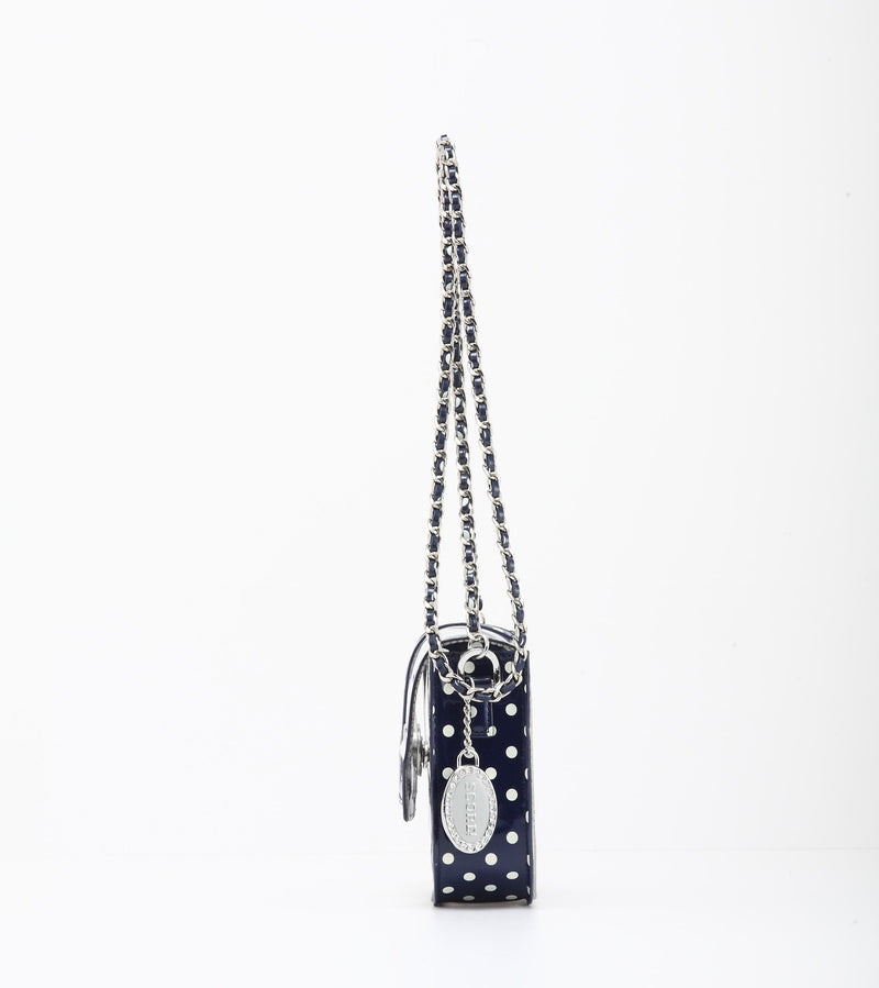 Chrissy Small Clear Game Day Handbag - Navy Blue and White