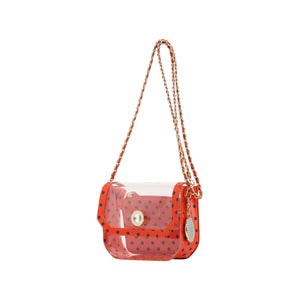 Chrissy Small Clear Crossbody Stadium Compliant Game Day Bag - Orange and Blue