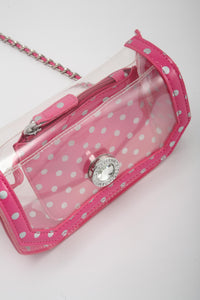 Chrissy Small Clear Crossbody Stadium Compliant Game Day Bag - Pink and Silver Phi Mu and Breast Cancer Awareness
